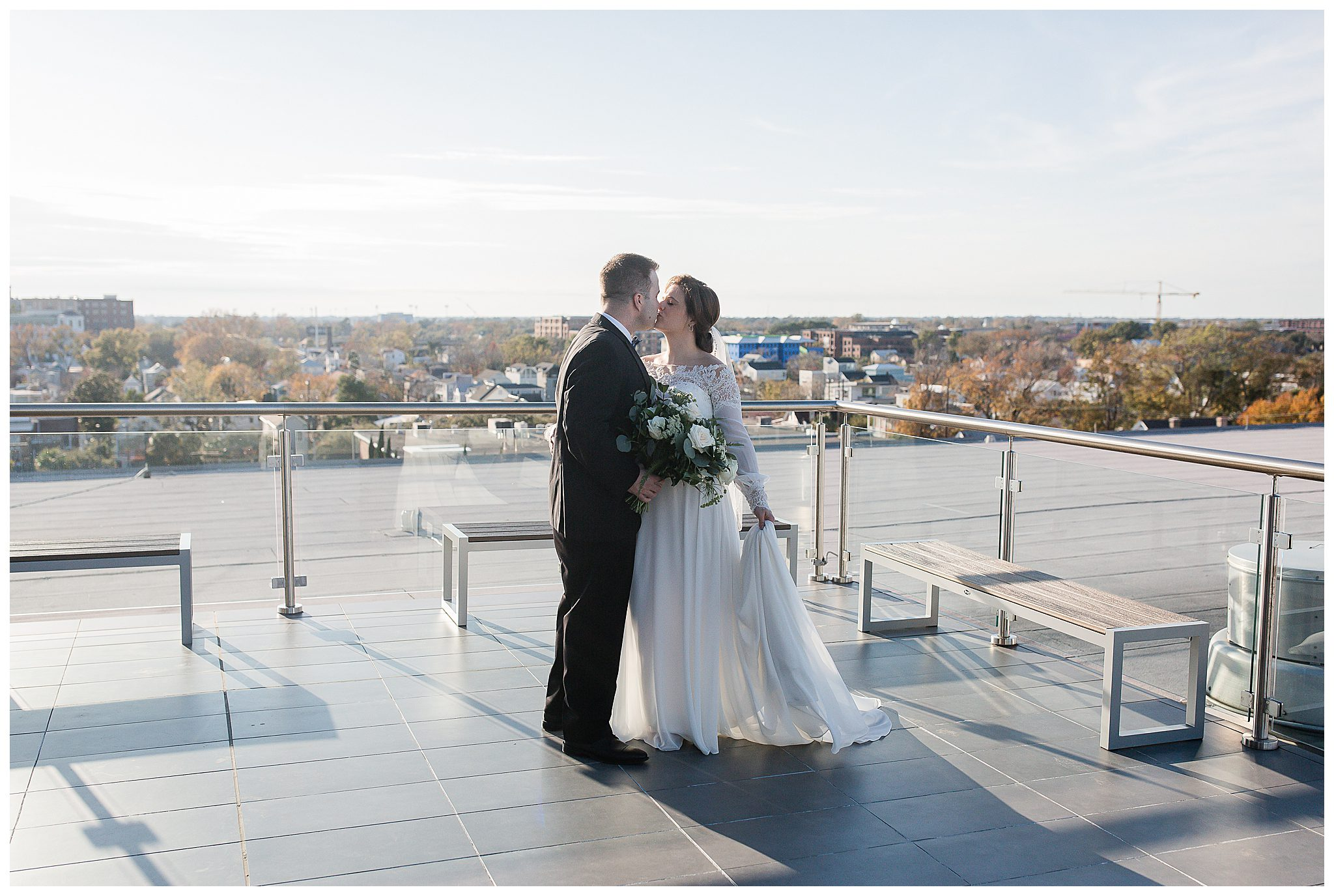 Bride and Groom on rooftop at The Cedar Room Wedding Venue